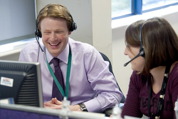 Oliver Morley at the DVLA Call Centre in Swansea