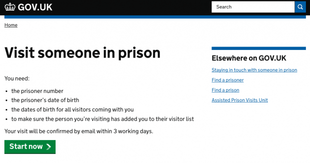 Visit someone in prison page screen shot